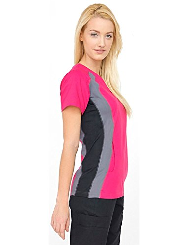 Allure by White Cross Women's V-Neck Top with Contrast Knit Trim Stretch Side Large (Contrast Trim V-neck Scrub Top)