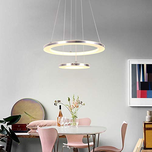 CHYING Modern Pendant Light, 30W LED 2-Ring Warm White 3000K Acrylic Chandelier Ceiling Light Adjustable Height Hanging Light Fixture for Kitchen Island, Dining Room, Living Room, Restaurant