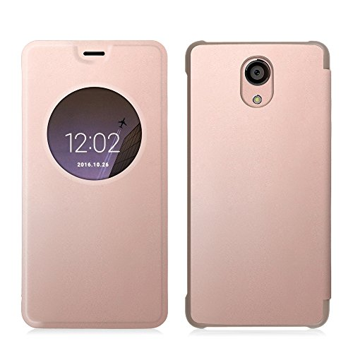 Fintie BLU LIFE ONE X2 Case - [Quick View Window] Premium PU Leather [Slim Flip] Protective Case Cover for BLU LIFE ONE X2 - 4G LTE Unlocked Smartphone, Rose (4g Lte Accessories)