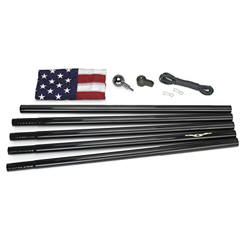 Valley Forge Flag All-American Series 3 x 5 Foot Nylon US American Flag Kit with 18-Foot Black Steel In-Ground Pole and - Nylon Kit Flag