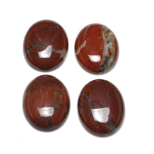 1 x Red/Brown Poppy Jasper 15 x 20mm Oval-Shaped Flat-Backed Cabochon - (CA16643-5) - Charming Beads