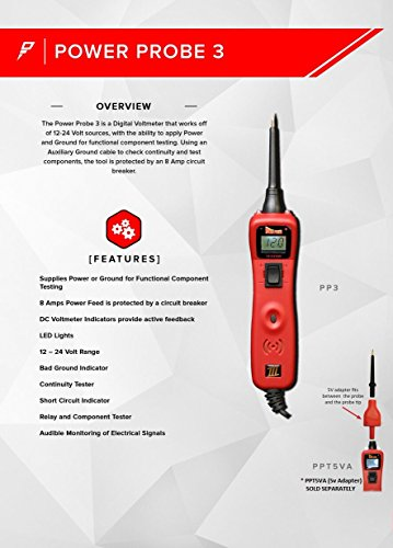 Power Probe III Clamshell - Red (PP3CSRED) [Car Automotive Diagnostic Test Tool, Digital Volt Meter, AC/DC Current Resistance, Circuit Tester] by Power Probe (Image #1)