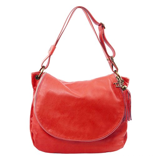 Tuscany Leather TL Bag Soft leather shoulder bag with tassel detail Lipstick Red by Tuscany Leather