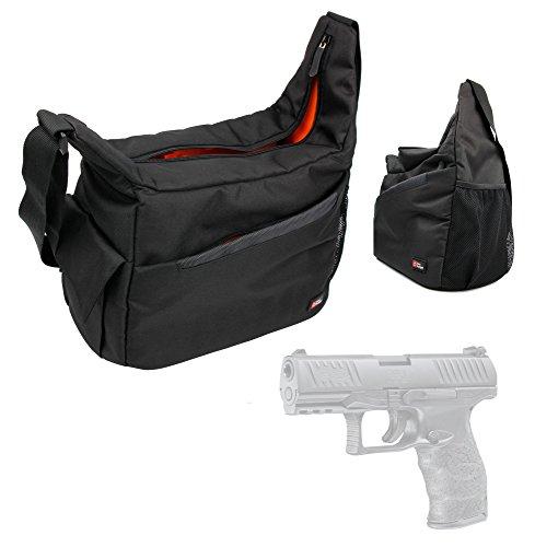 DURAGADGET Walther PPQ M2 Handgun Carry / Storage Bag Nylon Shoulder Bag in Black & Orange With Customizable Interior for Walther PPQ M2 Pistol