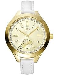 JBW J6309B Womens White Leather Watch with Roman Numeral Analog Display, Japanese Quartz Movement with Diamonds