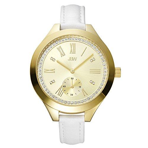 JBW Luxury Women's Aria Diamond Wrist Watch with Leather - Watch White Dial Diamond