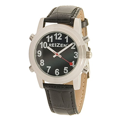 Reizen Talking Watch - Black Face - Leather Band - English by Reizen