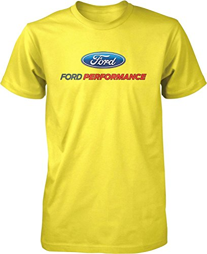Lucky Ride Ford Performance T-Shirt Mustang GT ST Racing (Front Print), Yellow, L