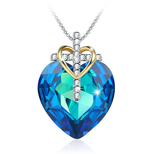 GEORGE · SMITH Easter Religious Faith in God Cross Necklace Blue Heart Pendant Jesus Christ Jewelry Crystals from Swarovski,Gifts for Women Wife (To Women From God Costume)