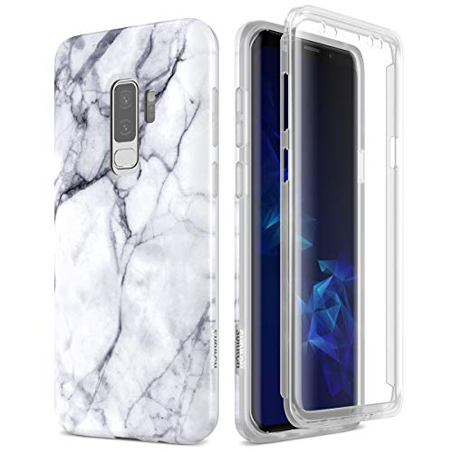 SURITCH Samsung Galaxy S9 Plus Marble Case, [Built-in Screen Protector]  Natural Marble Full-Body Protection Shockproof Rugged Bumper Protective  Cover