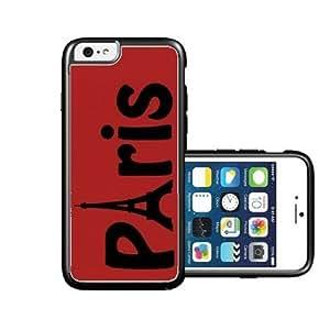 RCGrafix Brand Paris Red Plain Black iPhone 6 Case - Fits NEW Apple iPhone 6