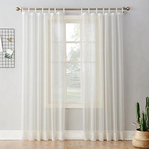 No. 918 Emily Sheer Voile Tab Top Curtain Panel, 59