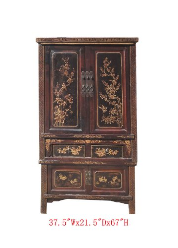 Antique Chinese Armoire (Chinese Antique Gold Flower Bird Painting Stack Armoire Storage Cabinet Awk2344)