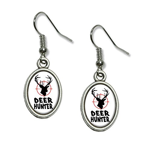 Graphics and More Deer Hunter - Buck Hunting - Distressed Novelty Dangling Drop Oval Charm Earrings (Hunter And Deer Costume)