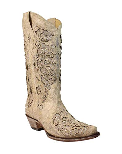 Corral Womens White Glitter Inlay & Crystals, Size: 7.5, Width: M (Best Corral Womens Cowboy Boots)