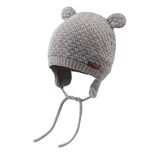 Cutegogo Baby Infant Earflap Beanie Hat Toddler Boys Girls Winter Warm Crochet Cap 0-24Months (Gray, 0-4M)