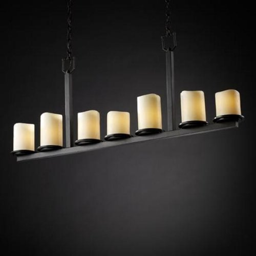 - Justice Design Group CNDL-8779-14-AMBR-DBRZ Candlearia Collection Dakota 7-Light Bar Chandelier