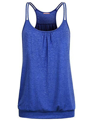 Blevonh Yoga Tank Tops for Women Juniors Simple Exercise Summer Casual Wear Gym Workout Racerback Sleeveless Shirt Wide Neck Loose Slouchy Roomy Stylish Elegant Plain Cami Blue - Top Long Halter Banded