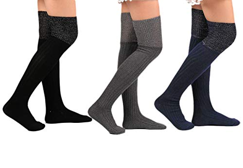 Santwo Color Block Warm Wool Blend Knited Lace Trim Hold-up Boot Crew Sock Winter 5 Pairs (B(2 Pairs)), B(2 Pairs), One Size from Santwo