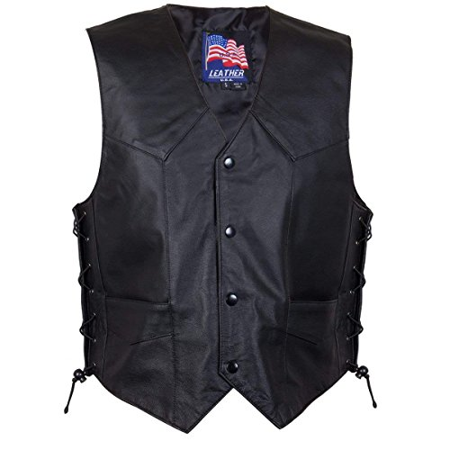 Classic Style 201L Mens Leather Side Lace Vest - Medium by USA Leather