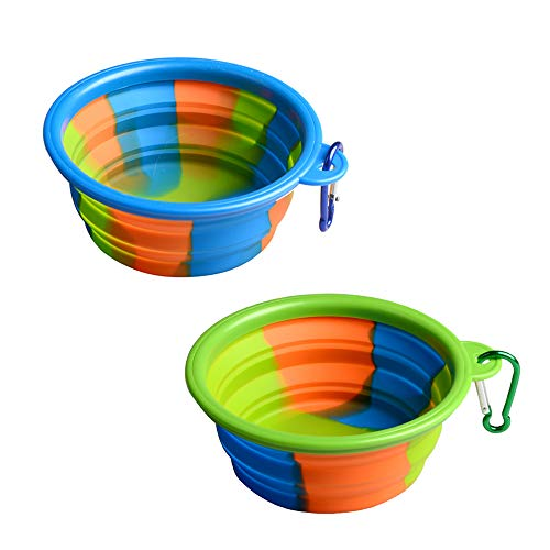 TEGOS Collapsible Dog Bowl,Travel Portable, Foldable Expandable Cup Dishfor Pet Dog Cat Food Travel Water Feeding Collapsable Silicone Colorful Free Carabiner Walking Parking Traveling