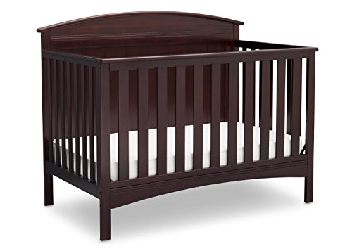 Delta Children Archer Solid Panel 4-in-1 Convertible Baby Crib, Dark Chocolate