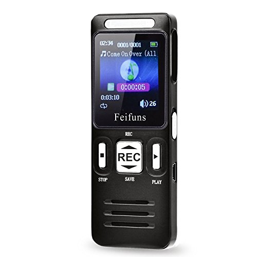 Digital Voice Recorder, Tape Recoeder for Lectures Meetings, 8GB Audio Recorder Dictaphone with Voice Activated, Noise Cancelling, MP3 Music Player, Color LCD Display, One Switch for Recording & Save