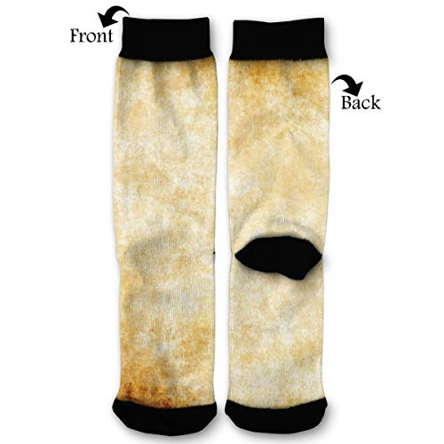 - Rough Old Parchment Paper High Ankle Socks,Men Women All Season Sock,Soft Cotton Breathable Printed Rib Sox
