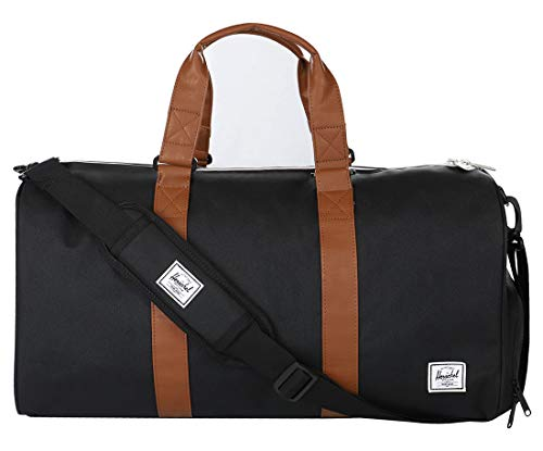 Herschel Novel Duffel Bag, Black/Tan Synthetic Leather, Mid-Volume 33L