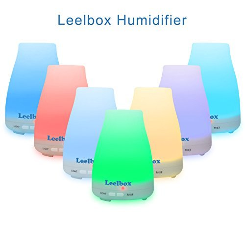 Leelbox Essential Oil Diffuser with 100ML Cool Mist Adjustable Aromatherapy Humidifier Aroma Diffuser Air Purifier Auto shut down 7 Color light Whisper Quiet for Bedroom Nursery Desk Image