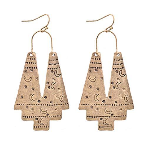 Zealmer Gudukt Vintage Geometric Drop Earrings Carving Moon Pattern Big Gold Statement Earrings for Women - Gold Swirl Earrings