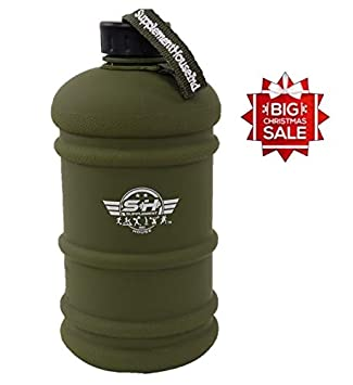 Large Water Jug Capacity 2.2L 75oz Large Leakproof BPA Free Water Bottle ( Commando Matt Green Finish with embroidery logo on strap )