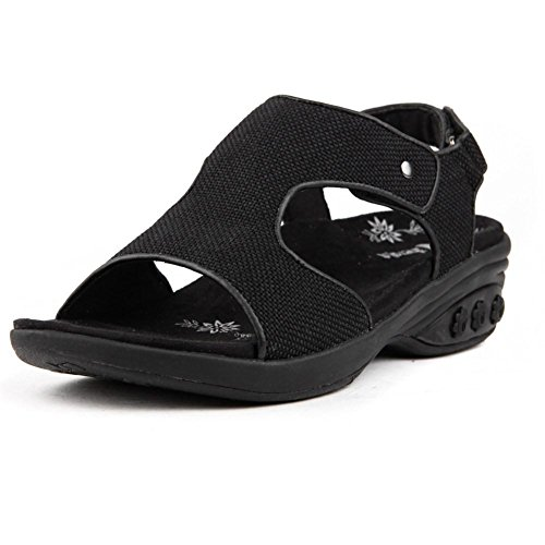 Therafit Cassandra Women's Fabric Adjustable Strap Wedge Sandal - Black, Size 8 - For Plantar Fasciitis/Foot Pain by Therafit