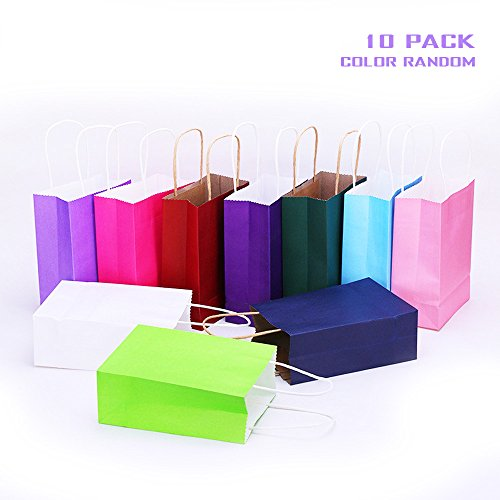 [Geekercity Bright Neon Colored Paper Party Gift Bags Rainbow Assortment with String Handles for Birthday Favors, Snacks, Decoration, Arts & Crafts, Event Supplies [10] (Cute Halloween Names For Kittens)