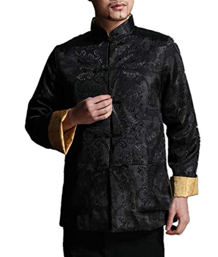 Chinese Tai Chi Kungfu Reversible Black/Gold Jacket Blazer 100% Silk Brocade #104 + Free Magazine