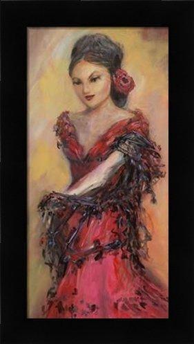 Flamenco Dancer - Framed Art Print - 10x20 Fine Art Print by Pino, JC in Studio Black Picture Frame - Dance Contemporary