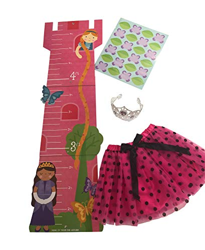 Growth Chart for Girls with Polka Dot Tutu and Tiara For Girls Gift Set Bundle