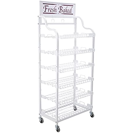 Displays2go Baker S Rack With 6 Adjustable Shelves Wire Display Rack With Wheels And 2 Sign Holders