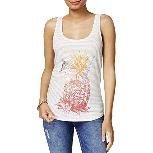Lucky Brand Metallic Pineapple Women's Knit Tank Top White XL