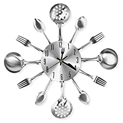 Cigera 14 Kitchen Cutlery Wall Clock with Forks and Spoons for Home Decor,Sliver