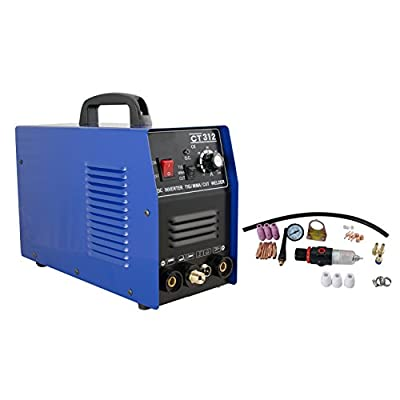 Enshey Potable 3 in 1 CT312 TIG / MMA Air Plasma Cutter Digital Electric Air Cutting Machine 0.4mm Thickness Inverter Cutting Welding Torch Machine Air Plasma Cutter with Pressure Gauge, SHIP FROM USA