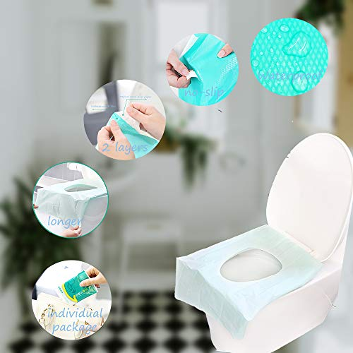Ditind Toilet Seat Covers Disposable, 30 Pcs Toilet Seat Covers for Travel Accessories (15.8×23.6 inch), Extra Large PE Film Travel Toilet Mats Covers for Kids and Adults Potty Training