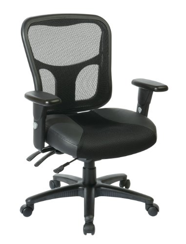 Office Star Breathable ProGrid Back with Leather and Mesh Se