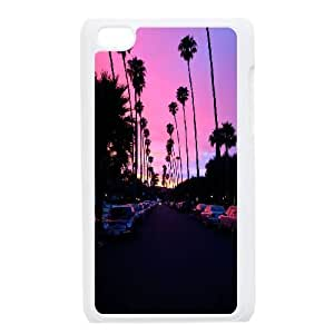 Customized Palm Trees And Sunset Pink Ipod Touch 4 Case, Palm Trees And Sunset Pink DIY Case for iPod Touch4 at Lzzcase
