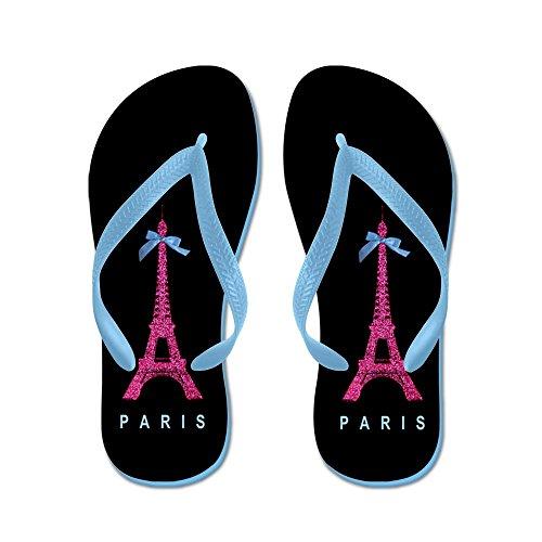 Cafepress Rosa Eiffeltornet - Flip Flops, Roliga Rem Sandaler, Strand Sandaler Caribbean Blue