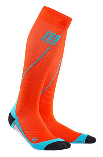 CEP Men's Progressive+ Compression Run Socks 2.0 for Running, Cross Training, Fitness, Calf Injuries, Shin Splits, Recovery, and Athletics, 20-30mmHg Compression, Sunset/Hawaii Blue, Size (Sunset Over Pikes Peak)