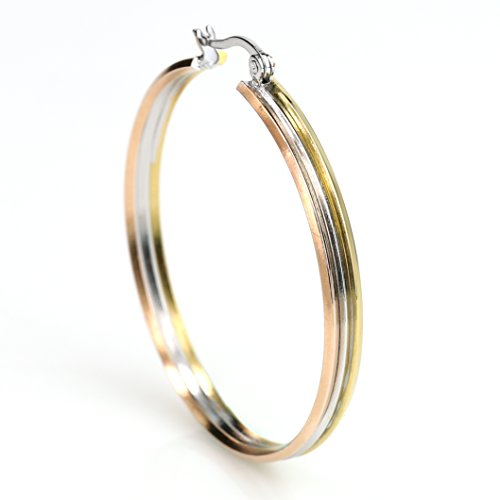 United Elegance - Classic Round Edged Tri-Color Silver, Gold & Rose Tone Hoop Earrings with Polished Finish (Round Edged) from United Elegance