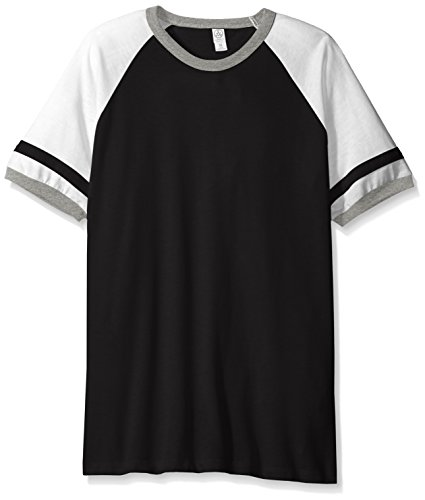 Shot Black And White (Alternative Men's Vintage 50/50 Jersey Slap Shot Tee, Black/White/Smoke, M)