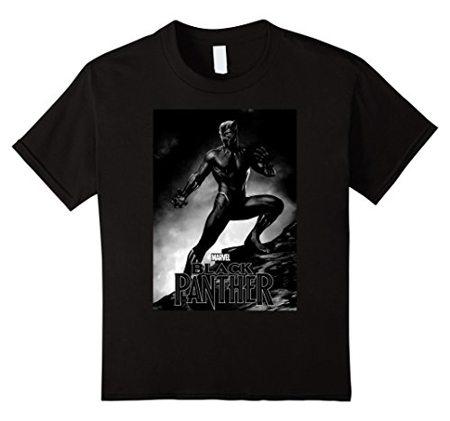 Kids Marvel Black Panther Movie Shadow Cliff Stance T-Shirt 8 Black