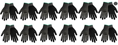 Tsunami Grip 500G Light Weight Nitrile Grip Work Gloves with Gray Nylon Shell and Black Mach Nitrile Dipped Coating on Palm and Fingers, Size X-large (12) (Tsunami Grip)